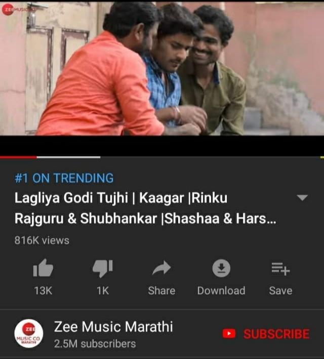 Lagliya Godi Tujhi Trending #1 On YouTube In A Single Day